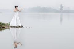 Menina e violino Imagens de Stock Royalty Free