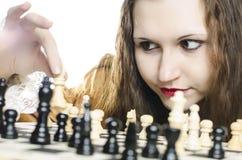 Menina e xadrez Fotografia de Stock