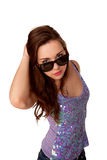 Menina elegante do adolescente nos óculos de sol. imagem de stock