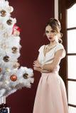 Menina elegante na noite de Natal fotos de stock royalty free