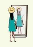 A menina elegante olha no espelho Mulher com o chapéu à moda, retro dos acessórios, calças justas listradas, bolsa Vetor desenhad ilustração royalty free