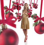 Menina elegante vestida para o Natal Fotos de Stock Royalty Free