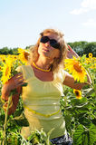 Menina em óculos de sol pretos Foto de Stock
