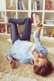 Menina em casa Imagens de Stock Royalty Free