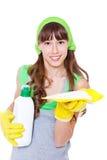 Menina em luvas protetoras Fotografia de Stock
