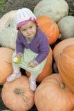 A menina em melões Fotos de Stock