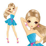 Menina em nivelar o vestido azul curto Imagens de Stock