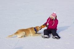 Menina em patins de gelo com cão Fotos de Stock