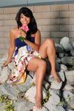 Menina em rochas Foto de Stock Royalty Free