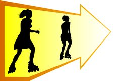 Menina em rolo-patins Foto de Stock