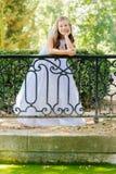 Menina em seu primeiro dia do comunhão foto de stock royalty free