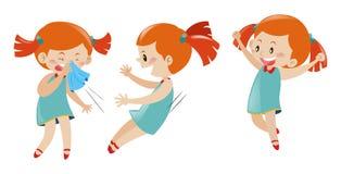 Menina em três ações diferentes Imagens de Stock Royalty Free