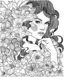 Menina em um arvoredo de amêndoas de florescência ilustração royalty free