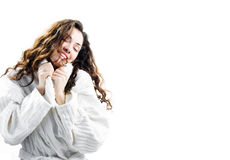 Menina em um bathrobe Fotos de Stock Royalty Free