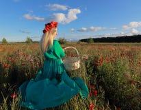 Menina em um campo da papoila Foto de Stock