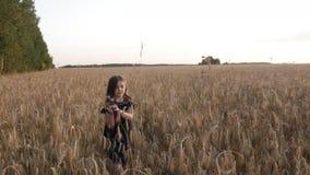 Menina em um campo de trigo! vídeos de arquivo
