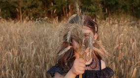 Menina em um campo de trigo! video estoque