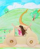 Menina em um carro fotos de stock royalty free