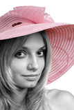 A menina em um chapéu Imagens de Stock Royalty Free