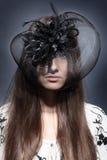 Menina em um chapéu bonito fotos de stock royalty free