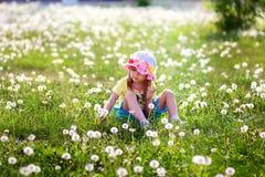 A menina em um chapéu senta-se no campo dos dentes-de-leão Fotos de Stock