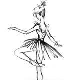 menina em um desenho do vestido na bailarina preto e branco Imagem de Stock