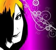 A menina em um fundo abstrato Imagem de Stock