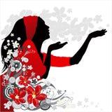 Menina em um fundo da flor Foto de Stock Royalty Free