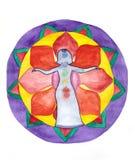 Menina em um fundo de Lotus Imagens de Stock