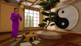 A menina em um interior japonês Imagens de Stock