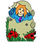 A menina em um ovo da páscoa Fotografia de Stock