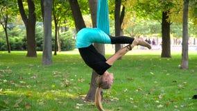 A menina em um parque contratou na ioga aérea imagens de stock royalty free