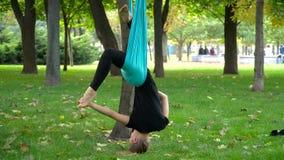 A menina em um parque contratou na ioga aérea Fotografia de Stock Royalty Free