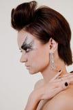 Menina em um perfil com uma composição brilhante Imagens de Stock Royalty Free