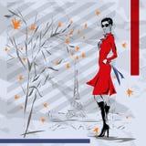 A menina em um revestimento vermelho Fotografia de Stock Royalty Free