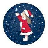 A menina em um revestimento vermelho e em um chapéu vermelho trava flocos de neve em um fundo azul Ilustração do vetor do Natal Fotografia de Stock