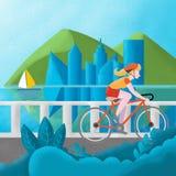 Menina em um t-shirt vermelho e em uns cursos vermelhos do capacete sobre a ponte em uma bicicleta ilustração royalty free