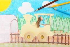 Menina em um trem ilustração royalty free