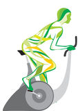 A menina em um velosimulator () Imagem de Stock Royalty Free