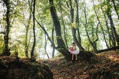 A menina em um vestido com boneca senta-se em uma árvore na floresta Foto de Stock Royalty Free