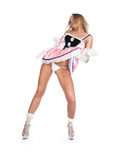 A menina em um vestido cor-de-rosa curto Fotos de Stock Royalty Free