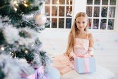 Menina em um vestido cor-de-rosa elegante que guarda a caixa de presente perto da árvore de Natal Imagem de Stock