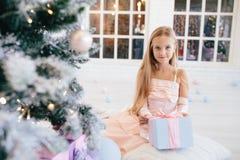 Menina em um vestido cor-de-rosa elegante que guarda a caixa de presente perto da árvore de Natal Fotos de Stock