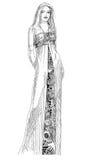 Menina em um vestido de noite ilustração royalty free