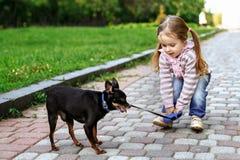 Menina em uma blusa listrada cor-de-rosa e na calças de ganga que anda com cão Fotos de Stock Royalty Free