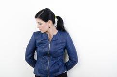 Menina em uma camisa azul Imagem de Stock Royalty Free