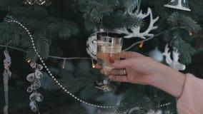 Menina em uma camiseta com um vidro do champanhe perto de uma árvore de Natal vídeos de arquivo
