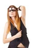 Menina em uma composição escura com grânulo imagens de stock royalty free