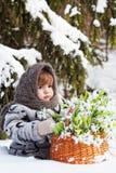 Menina em uma madeira do inverno Imagens de Stock Royalty Free