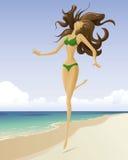 A menina em uma praia Fotos de Stock Royalty Free